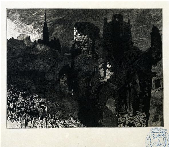 Album de gravures d'après les dessins de Victor Hugo pour les Travailleurs de la mer : Guernesey, ruines de la tour (planche 11) - 1882_0