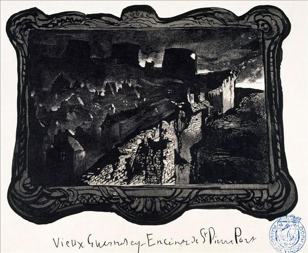 Album de gravures d'après les dessins de Victor Hugo pour Les Travailleurs de la mer : Guernesey, enceinte de Saint-Pierre-Port (planche 12) - 1882_0