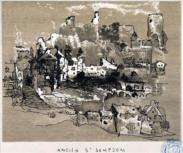 Album de gravures d'après les dessins de Victor Hugo pour Les Travailleurs de la mer : Guernesey,  ancien Saint-Sampson (planche 15) - 1882_0