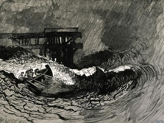 Album de gravures d'après les dessins de Victor Hugo pour Les Travailleurs de la mer : Vieux Saint Malo, près du quai (planche 20) - 1882_0