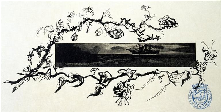 Album de gravures d'après les dessins de Victor Hugo pour les Travailleurs de la mer : La Durande signalée (planche 28) - 1882_0