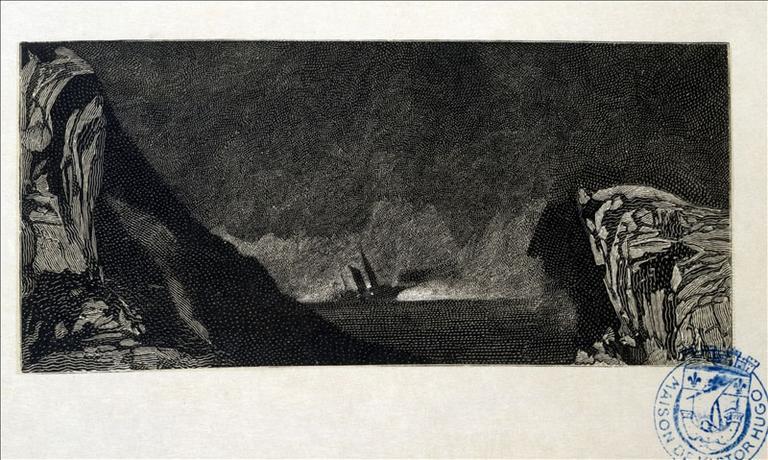 Album de gravures d'après les dessins de Victor Hugo pour les Travailleurs de la mer : La Durande, mer calme (planche 29) - 1882