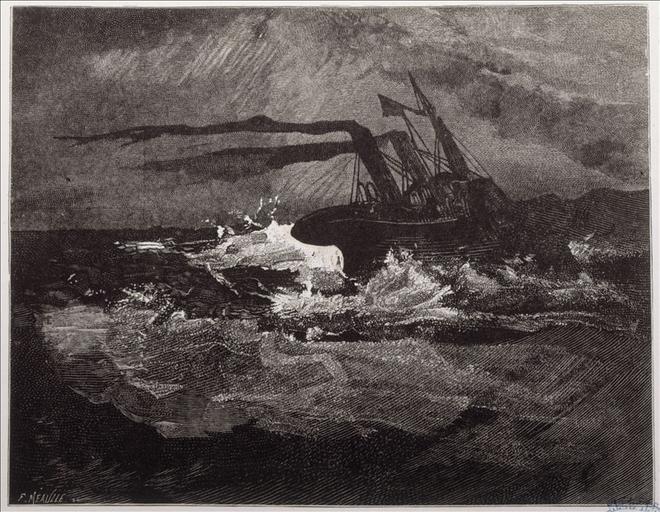 Album de gravures d'après les dessins de Victor Hugo pour Les Travailleurs de la mer : la Durande, gros temps (planche 30) - 1882_0