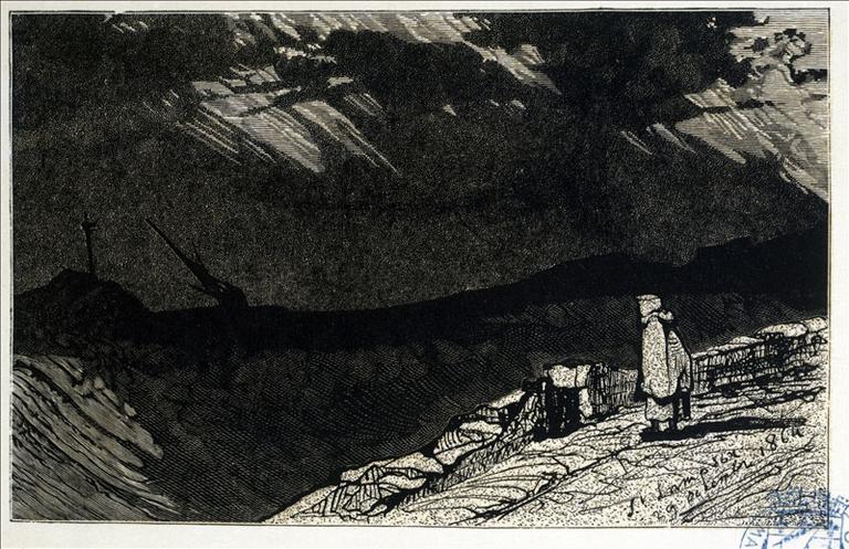 Album de gravures d'après les dessins de Victor Hugo pour les Travailleurs de la mer : Tempête, vue du rivage (planche 36) - 1882_0