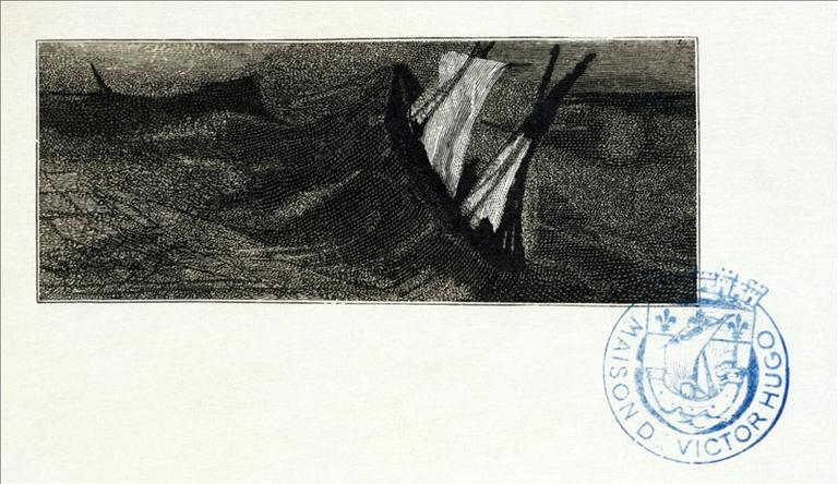Album de gravures d'après les dessins de Victor Hugo pour les Travailleurs de la mer : Tempête, en détresse (planche 38) - 1882_0