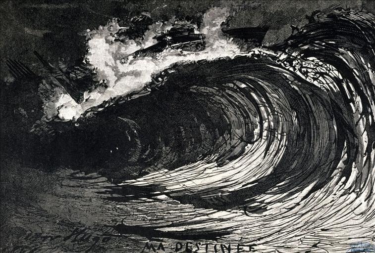 Album de gravures d'après les dessins de Victor Hugo pour Les Travailleurs de la mer : Tempête, la vague  (planche 39) - 1882_0