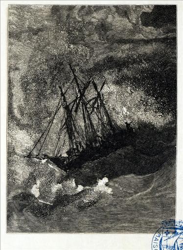 Album de gravures d'après les dessins de Victor Hugo pour les Travailleurs de la mer :Tempête, naufrage (planche 40) - 1882