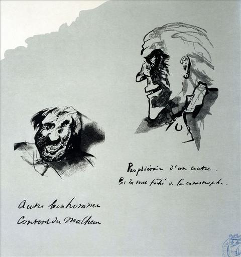 Album de gravures d'après les dessins de Victor Hugo pour les Travailleurs de la mer : Propriétaire d'un coutre, pas du tout fâché de la catastrophe. Autre bonhomme content du malheur (planche 46) - 1882_0