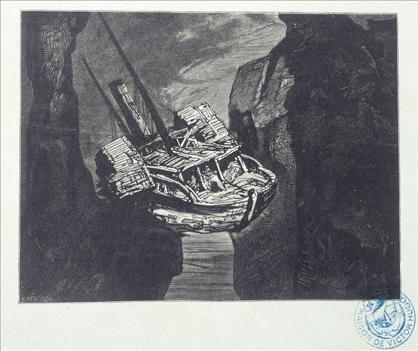 Album de gravures d'après les dessins de Victor Hugo pour les Travailleurs de la mer : la Durande après le naufrage (planche 50) - 1882_0