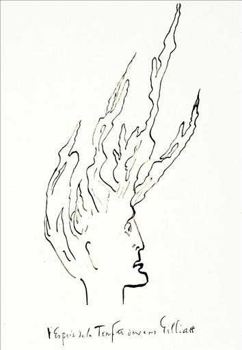 Album de gravures d'après les dessins de Victor Hugo pour les Travailleurs de la mer : l'esprit de la tempête devant Gilliatt (planche 52)