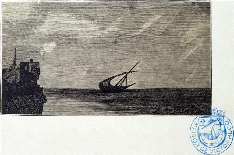 Album de gravures d'après les dessins de Victor Hugo pour les Travailleurs de la mer : marines, crépuscule (planche 53) - 1882_0