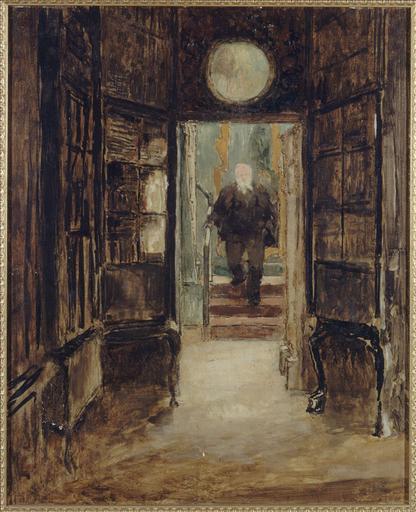 Victor Hugo descendant de son cabinet de travail à Hauteville House