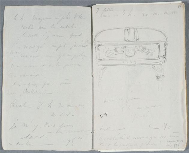 Carnet de voyage 22 juillet - 29 août 1834 : dessus de porte (folio.16 avec page vis à vis) ; Vannes (folio.23) ; Evêché de Beauvais, 28 août 1834, folio 60 (verso) et 61 (recto)_0