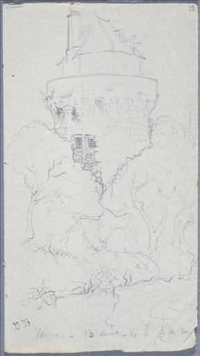 Carnet de voyage 22 juillet - 29 août 1834 : dessus de porte (folio.16 avec page vis à vis) ; Vannes (folio.23) ; Evêché de Beauvais, 28 août 1834, folio 60 (verso) et 61 (recto)