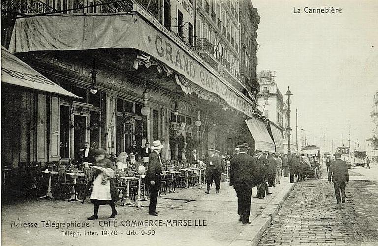 La Cannebière (en haut) / Adresse Télégraphique : CAFE COMMERCE-MARSEILLE / Téléph. inter. 19.70 - Urb. 9-59_0