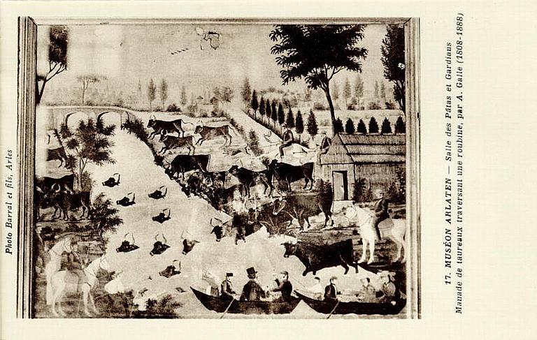 17. MUSEON ARLATEN - Salle des Pâtres et Gardians / Manade de taureaux traversant une roubine, par A. Galle (1808-1888)_0