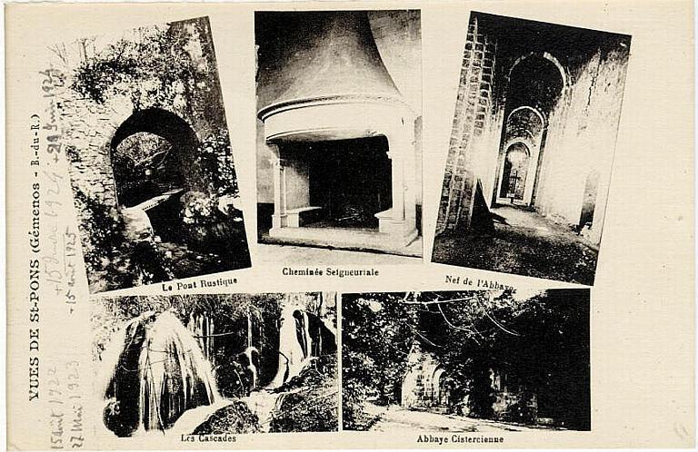 VUES DE ST PONS (Gémenos B. - du - R.) / Le pont rustique, cheminée seigneuriale, Nef de l'Abbaye, Les Cascades, Abbaye Cistercienne_0