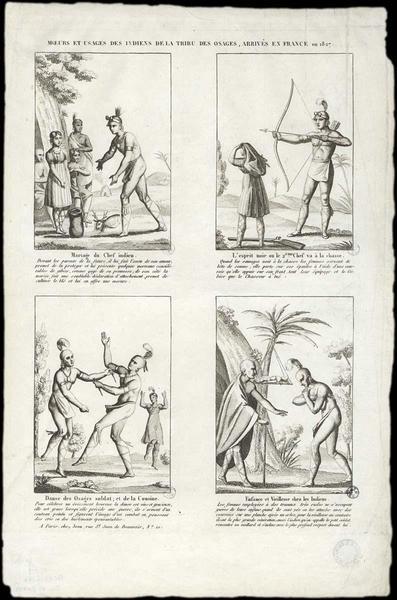 MOEURS ET USAGES DES INDIENS DE LA TRIBU DES OSAGES, ARRIVÉS EN FRANCE en 1827 (titre inscrit)