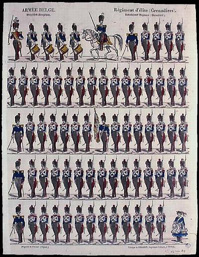 ARMEE BELGE. / Régiment d'élite (Grenadiers). (titre inscrit, français, allemand, gothique)