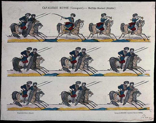 CAVALERIE RUSSE (cosaques). (titre inscrit, français, allemand, gothique)