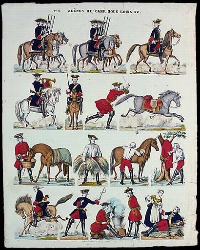 SCENE DE CAMP, SOUS LOUIS XV. (titre inscrit)