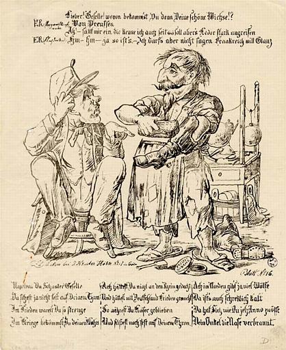 Scène caricaturale de Napoléon III en langue allemande (titre factice)