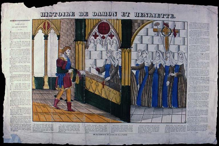 HISTOIRE DE DAMON ET HENRIETTE. (titre inscrit)