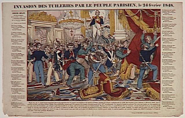 INVASION DES TUILERIES PAR LE PEUPLE PARISIEN, le 24 février 1848. (titre inscrit)