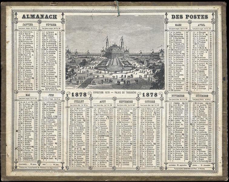 ALMANACH DES POSTES / EXPOSITION Universelle 1878 - PALAIS DU TROCADERO (titre inscrit)