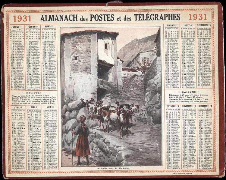 ALMANACH DES POSTES ET DES TELEGRAPHES / En Route pour la Montagne (titre inscrit)