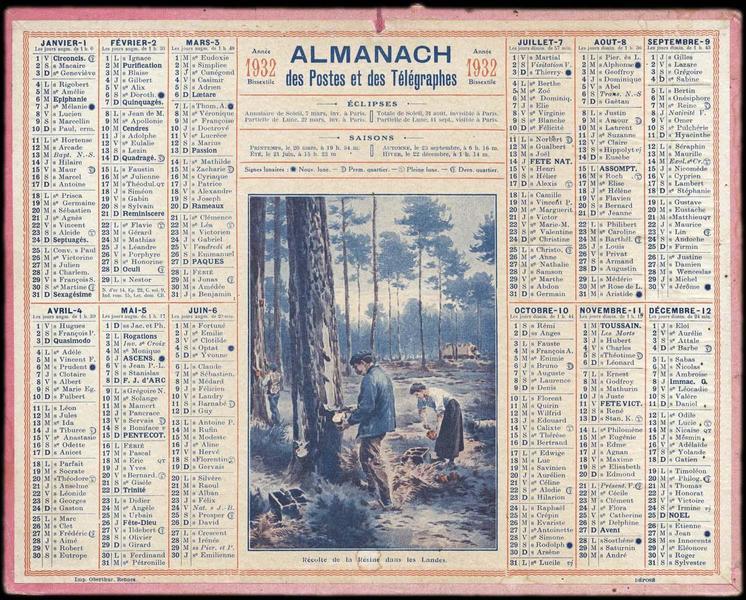 ALMANACH des Postes et des Télégraphes / Récolte de la Résine dans les Landes (titre inscrit)