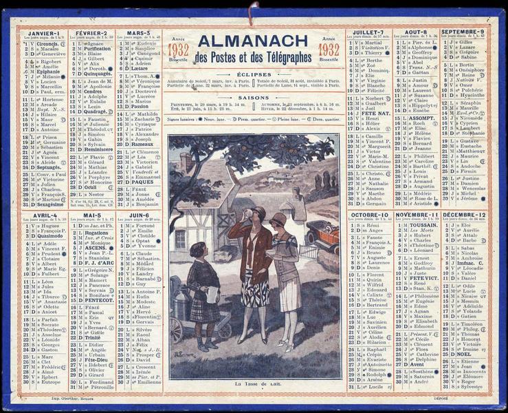 ALMANACH des Postes et des Télégraphes / La Tasse de Lait (titre inscrit)