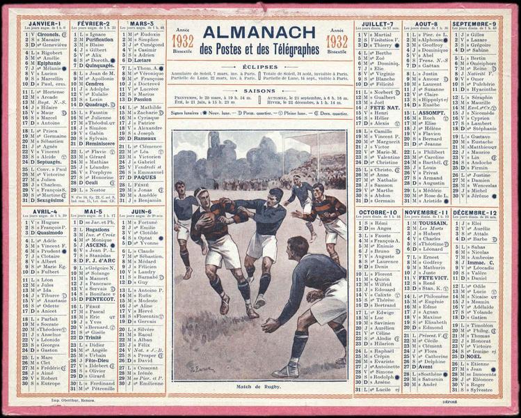 ALMANACH des Postes et des Télégraphes / Match de Rugby (titre inscrit)