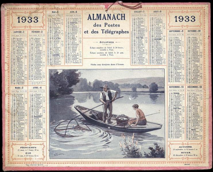 Almanach des Postes et des Télégraphes / Pêche aux Goujons dans l'Yonne (titre inscrit)