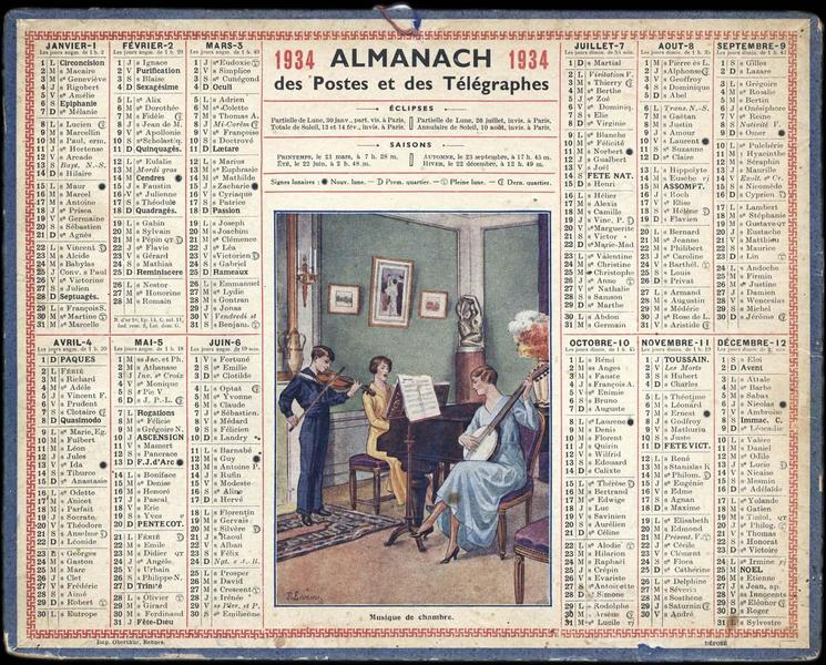 ALMANACH des Postes et des Télégraphes / Musique de chambre. (titre inscrit)