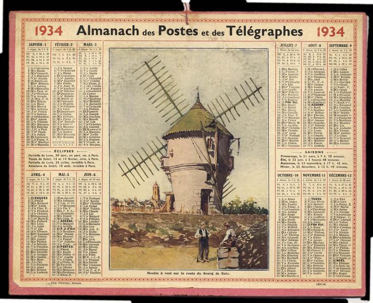 Almanach des Postes et des Télégraphes / Moulin à vent sur la route du Bourg de Batz (titre inscrit)