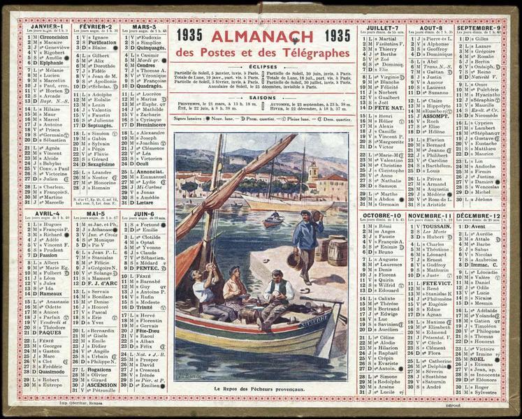 ALMANACH des Postes et des Télégraphes / Le Repos des Pêcheurs provençaux (titre inscrit)