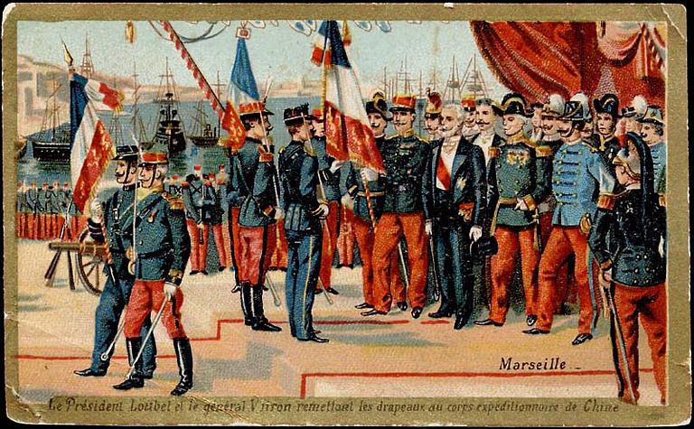 Marseille / Le Président Loubet et le général Voiron remettant les drapeaux au corps expéditionnaire de Chine (titre inscrit)