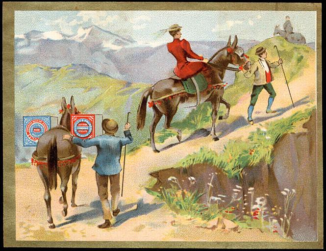 Dame à cheval et mulet de bât dans un col. (titre d'origine)