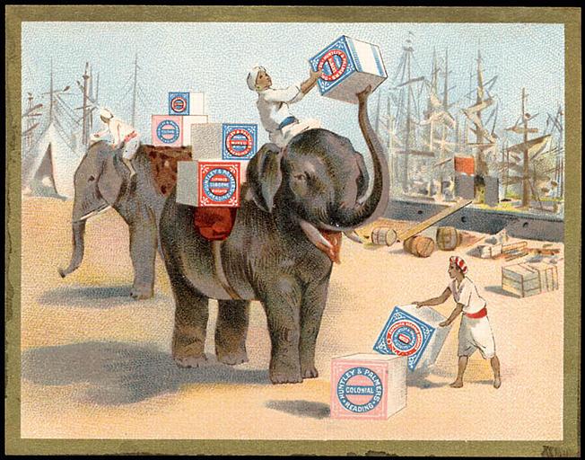 Deux éléphants transportent des biscuits. (titre d'origine)