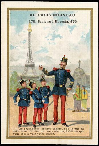 - Je présuppose, jeunes tapins, que la vue de / cette tour n'a rien qui vous étonne, habitués que / vous êtes à voir votre major. (titre inscrit)