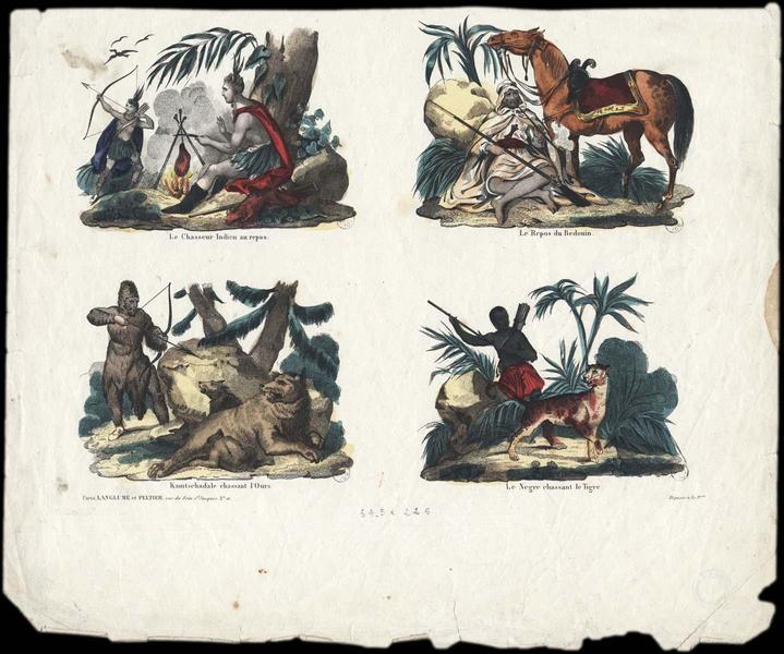 Le chasseur indien au repos, le repos du bédouin, kamtschadale chassant l'ours, le nègre chassant le tigre (titre inscrit)