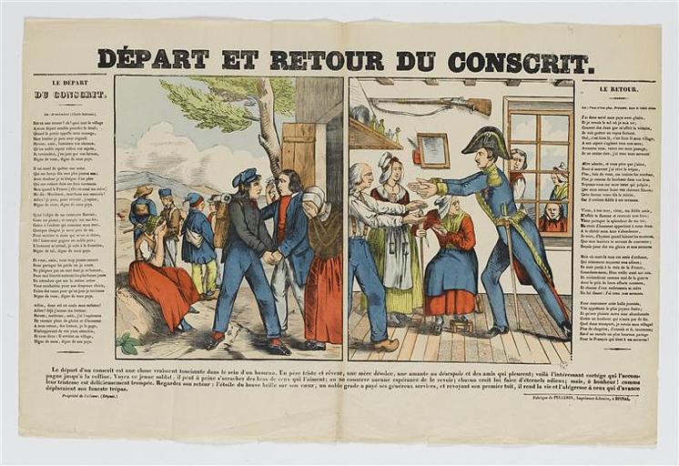 DEPART ET RETOUR DU CONSCRIT (titre inscrit)