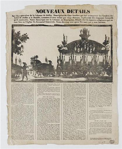 NOUVEAUX DETAILS Sur l'Inauguration de la colonne de Juillet.(titre inscrit)