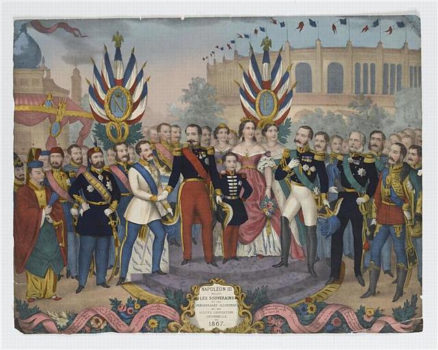NAPOLEON III / RECOIT / LES SOUVERAINS / ET LES / PERSONNAGES ILLUSTRES / QUI ONT / VISITES L' EXPOSITION / UNIVERSELLE / DE / 1867 (titre inscrit)