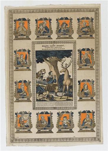 LE GRAND SAINT HUBERT, PATRON DES ARDENNES (titre inscrit, français, allemand, gothique)
