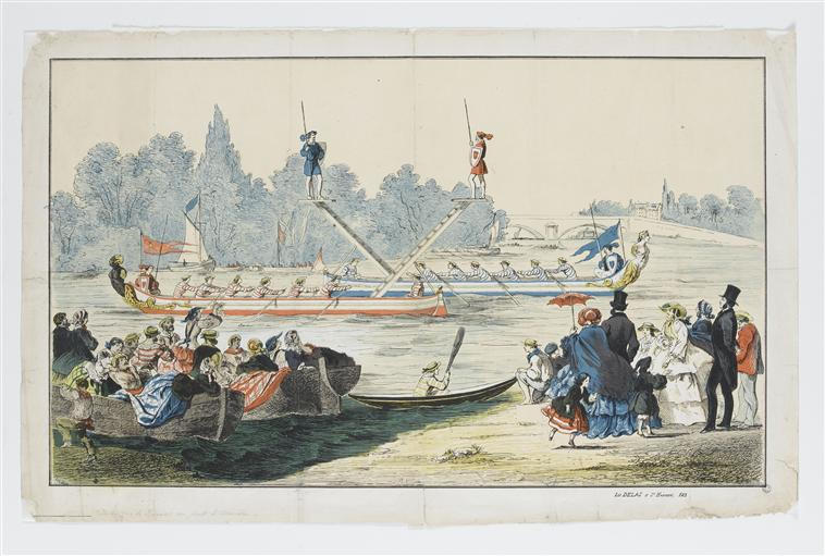 Joutes sur la Seine au Pont d'Asnières (titre factice)
