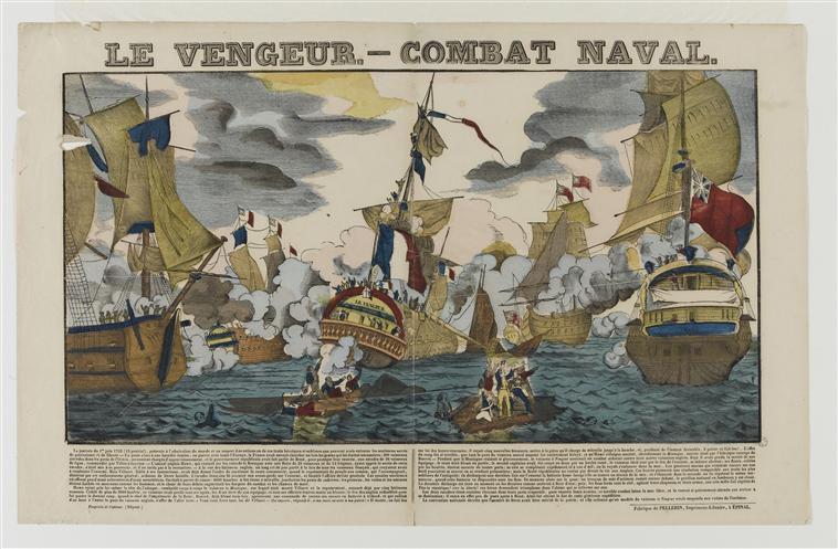 LE VENGEUR.- COMBAT NAVAL (titre inscrit)