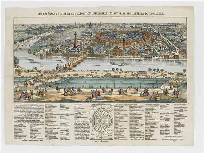 VUE GÉNÉRALE DE PARIS ET DE L' EXPOSITION UNIVERSELLE DE 1867 PRISE DES HAUTEURS DU TROCADERO (titre inscrit)