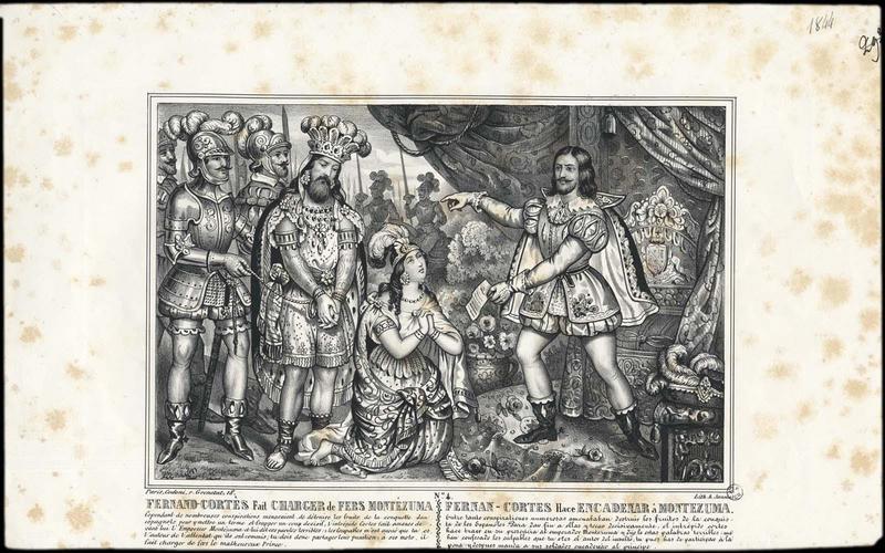 FERNAND CORTES FAIT CHARGER DE FERS MONTEZUMA (titre inscrit, français, espagnol)